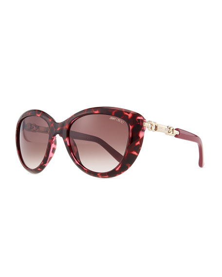 Wigmore Cat-Eye Chain-Arm Sunglasses, Havana Pink