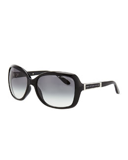 Squared Enamel Sunglasses, Black