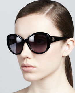 Roberto Cavalli Crest-Temple Sunglasses, Shiny Black