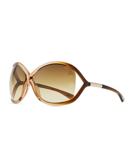 Whitney Cross-Bridge Sunglasses, Rose/Brown