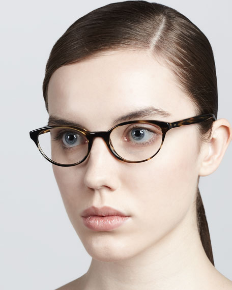 Lilla Thin Cat-Eye Fashion Glasses, Cocobolo