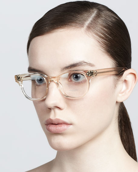 Afton Clear Fashion Glasses, Buff