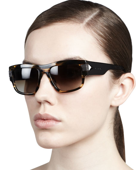 Modified Rounded Rectangular Sunglasses, Havana Brown