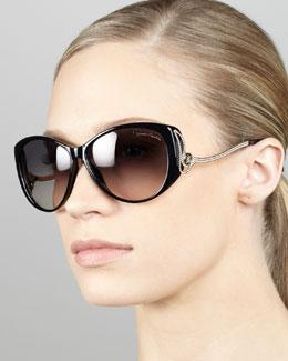 Roberto Cavalli Drop-Temple Cat-Eye Sunglasses, Black