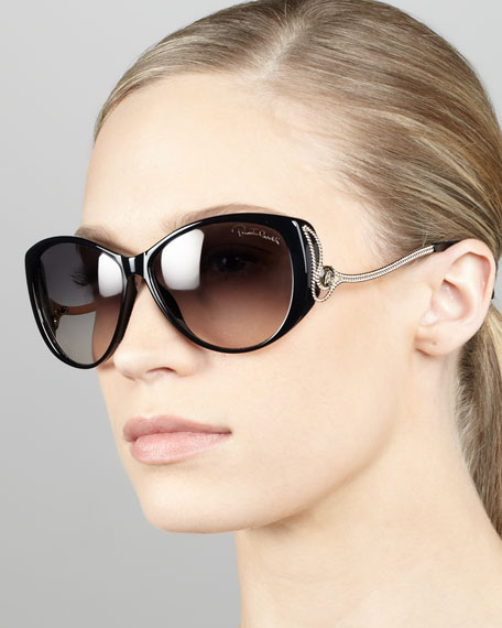 Drop-Temple Cat-Eye Sunglasses, Black