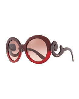 Prada Baroque Round Sunglasses, Red