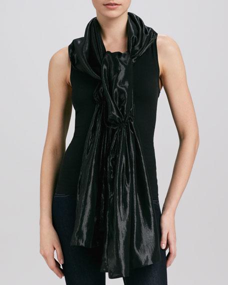 Gathered Metallic Silk Stole, Black