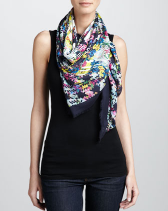 Large Left Bank Geometric Floral Scarf, Blue/Multicolor