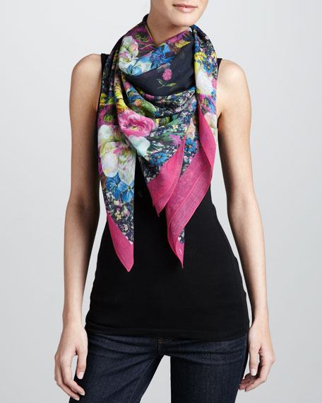 Large St. Germain Rose Voile Scarf, Black/Pink