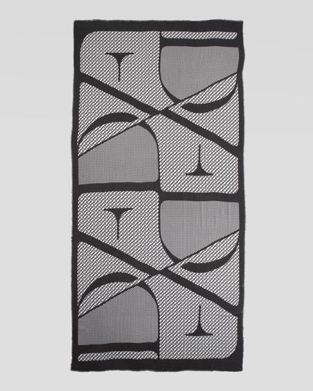 Geometric Hanover Scarf, Black/White