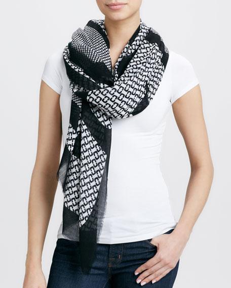 Geometric Hanover Scarf, Black/White