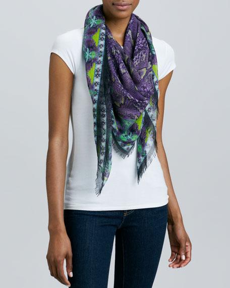 Silene Printed Scarf, Purple/Multi