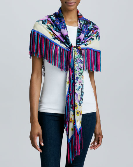 Floral-Print Georgette Stole with Fringe