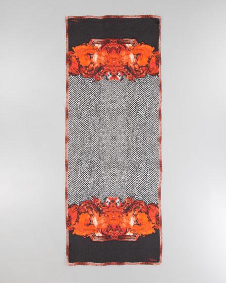Tilda Tiled Print Silk Scarf, Black/Orange/White