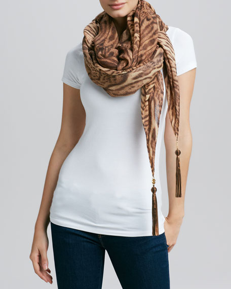 Animal-Print Square Tassel Scarf, Chocolate