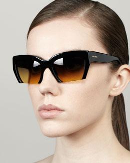 Rasoir Cutoff Square Sunglasses, Black