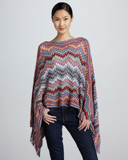Missoni Lightweight Zigzag Knit Poncho, Green/Orange/Purple