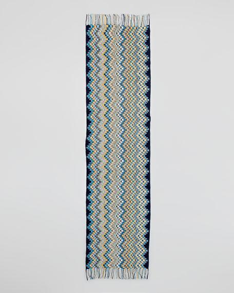 Zigzag Knit Scarf, Blue/Mustard