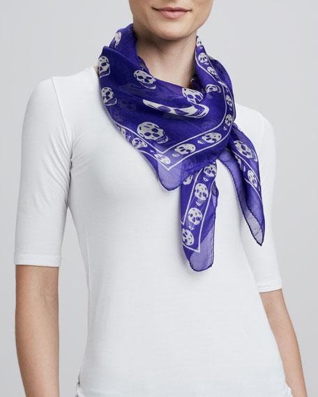 Skull-Print Chiffon Scarf, Purple/White