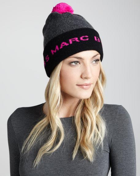 Logo Pompom Ski Hat, Gray/Pink