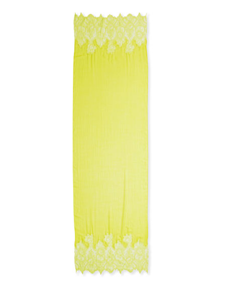 Wool Bicolor Lace Shawl, Yellow