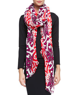 Tory Burch Orion Floral Print Embellished Scarf
