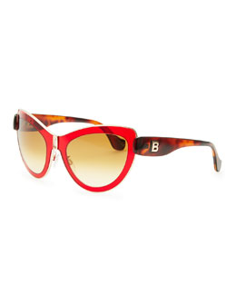 Balenciaga Cat-Eye Sunglasses, Red/Rose Gold