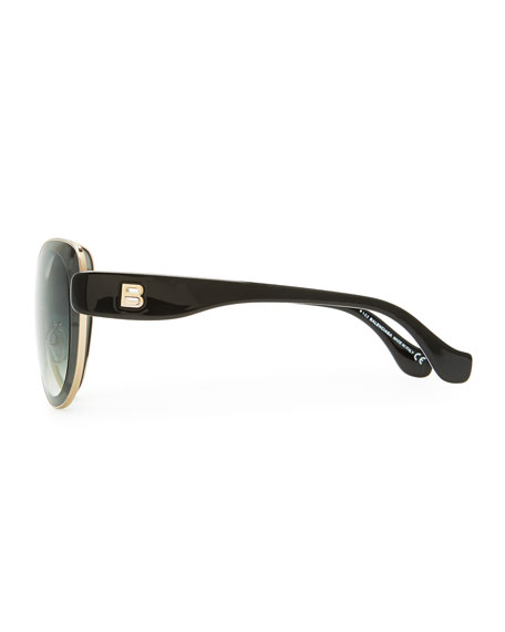 Rounded Sunglasses, Smoke Gray/Black