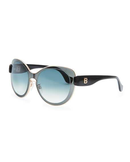 Rounded Sunglasses, Smoke Gray/Black