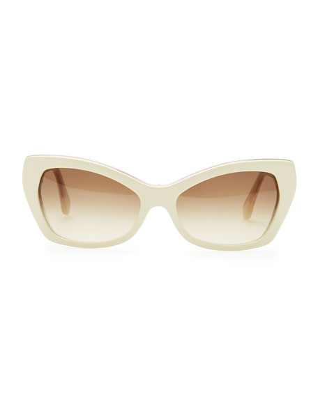 Rectangle Cat-Eye Sunglasses, Ivory/Crystal