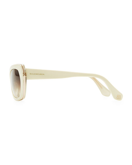 Rectangle Cat-Eye Sunglasses, Ivory/Crystal