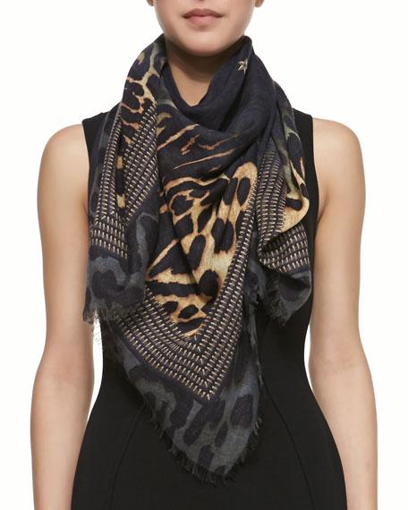 Square Silk-Wool Shaded Leopard Logo Scarf