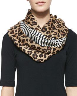 Tory Burch Leopard-Print & Striped Infinity Scarf