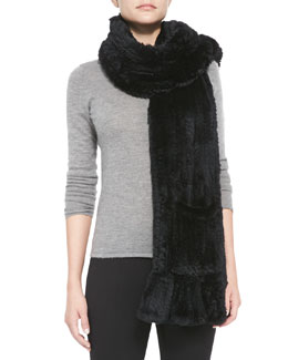 Belle Fare Knitted Rabbit Fur Wrap with Pocket