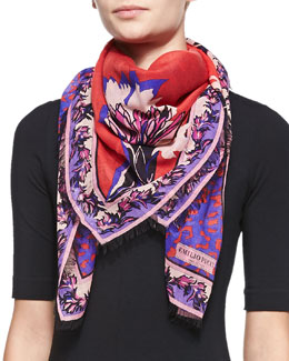 Emilio Pucci Khiva Printed Wool-Silk Scarf, Red
