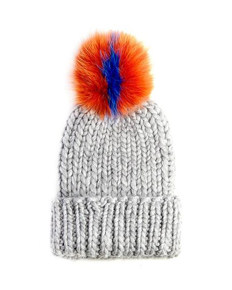 Rain Knit Hat with Fur Pompom, Gray/Orange/Blue