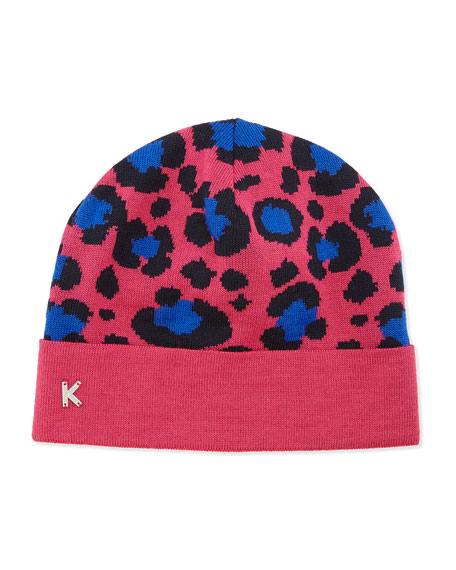 Leopard-Print Knit Beanie, Fuchsia