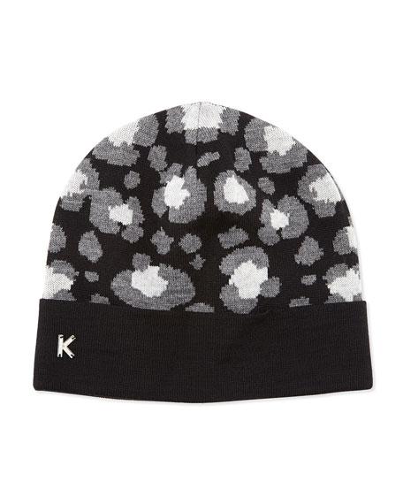 Leopard-Print Knit Beanie, Black