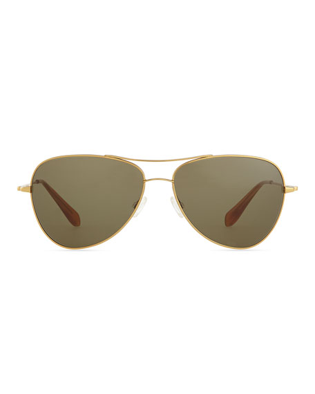 Pryce Metal Aviator Sunglasses, Gold