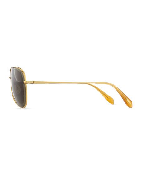 Pryce Metal Aviator Sunglasses, Gold
