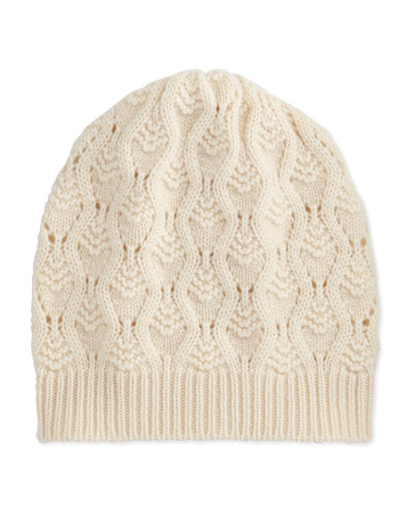 Cashmere Lace-Knit Beanie, Winter White