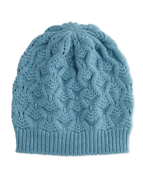 Cashmere Lace-Knit Beanie, Wedgewood