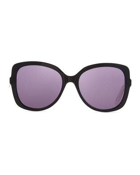 Envol 2 Oversized Half-Rim Sunglasses, Black/Yellow