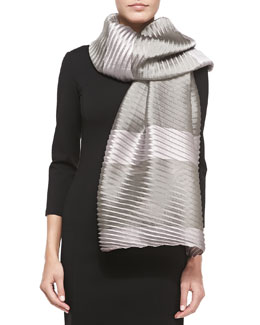 Striped Plisse Organza Wrap, Pink/Gray