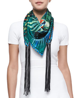 Roberto Cavalli Foulard Scarf with Fringes, Blue/Multi