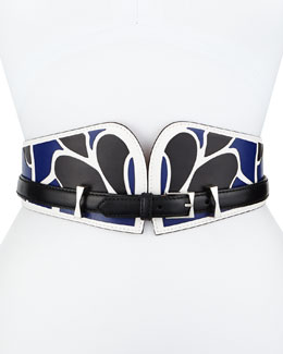 Bustino Floral-Print Leather Belt