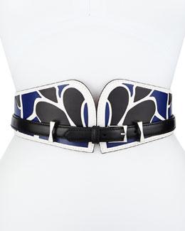 Bustino Floral-Print Leather Belt