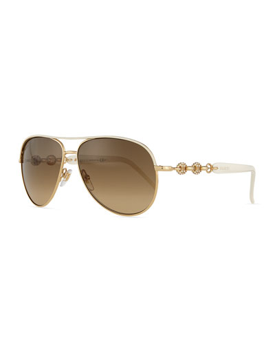 Stone Aviator Sunglasses, Ivory/Golden