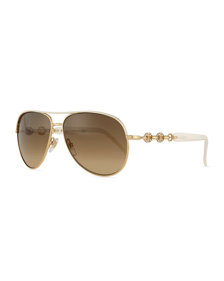 Gucci Stone Aviator Sunglasses, Ivory/Golden