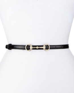 Calfskin Horsebit-Buckle Belt, Black